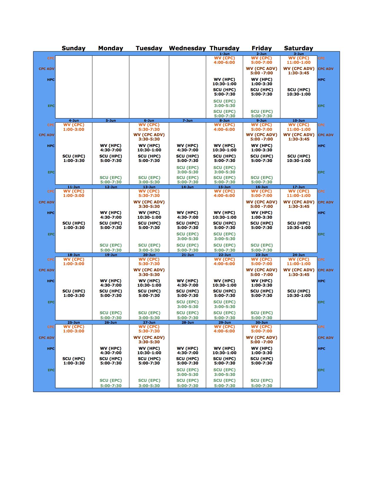 June 2017 Schedule