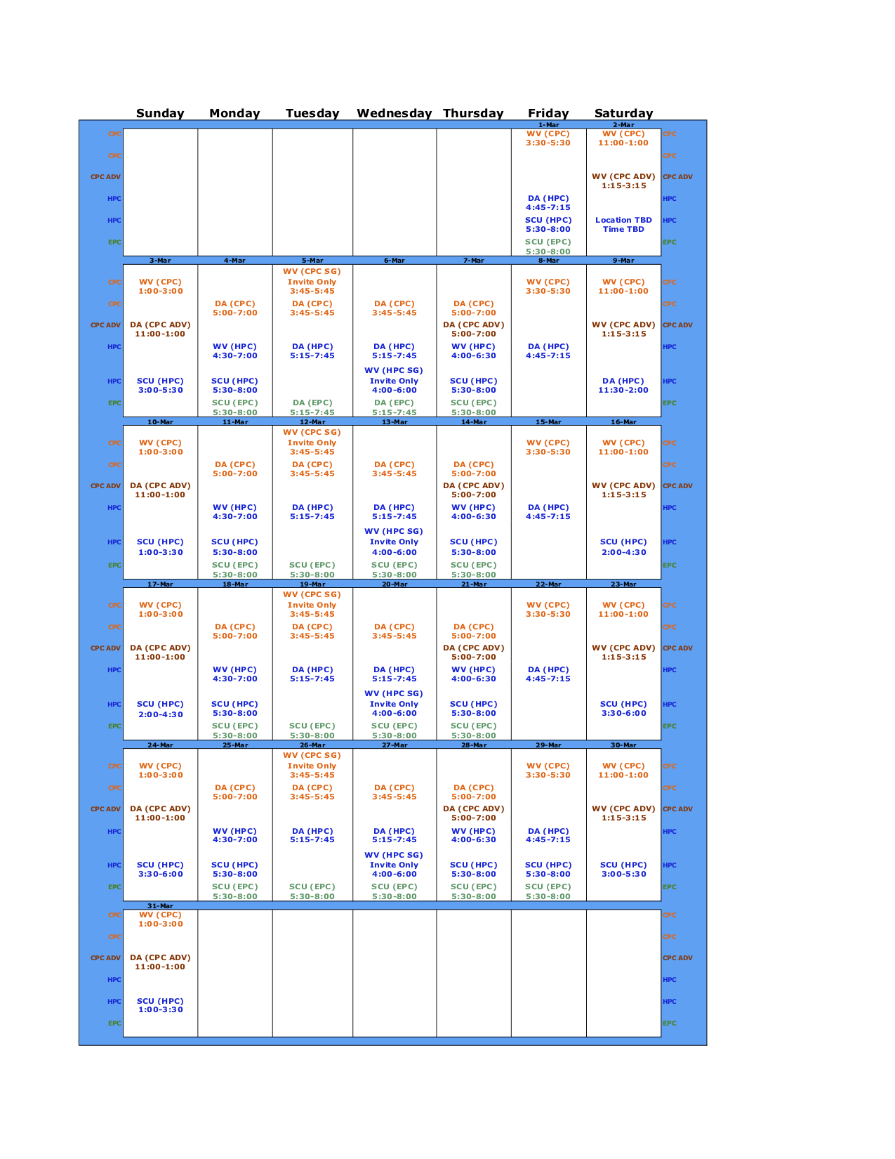 January 2019 Schedule
